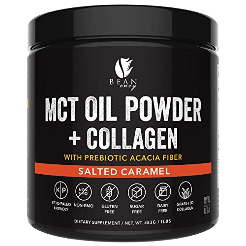 MCT Oil Powder + Collagen + Prebiotic Acacia Fiber - 100% Pure MCT's - Perfect for Keto - Energy Boost - Nutrient Absorption - Appetite Control - Healthy Gut Support - Salted Caramel