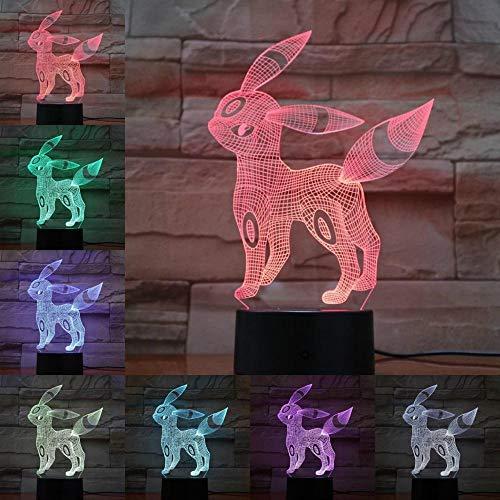 Eevee 3D Lampe Pokemon Spielfiguren Umbreon Nachtlicht LED Birne Multicolor Junge Kinder Geschenk Kind Spielzeug Urlaub Touch USB Gadgets
