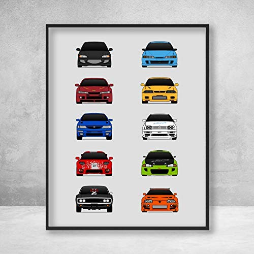 Poster Inspired by Best Cars from The Fast and the Furious Movie Poster Dominic Toretto (Vin Diesel) Brian O'Connor (Paul Walker) Poster Print Wall Art Handmade