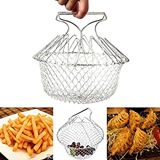 Janolia Foldable Wire Fry Basket, 304 Stainless Steel Fryer Strainer Steamer Net, Kitchen Cooking Tool for Fried Food or Fruit