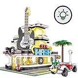 ZJLA Casa de guitarra modular de esquina con juego de iluminación, bloques de construcción de arquitectura, 2168 Bloques