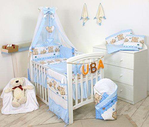 11 Pezzi Set di biancheria per letto culla bambini paracolpi baldacchino (140 x 70 cm, 8)