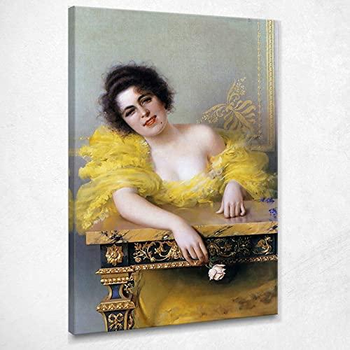 CIQUADRO Una mujer elegante vestido de amarillo Corcos Vittorio Matteo Quadro Vmc8, 150 x 105 cm