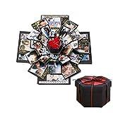 DXIA Explosion Box, Scrapbook Creative DIY Photo Album, Scatola Nera con Esplosione, Regalo Fai da Te, Album di Foto per Compleanni, Matrimonio, San Valentino, Festa della Mamma, Natale