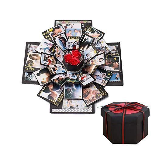 DXIA Explosion Box, Caja Sorpresa, Álbum Explosión, Creativo DIY Hecho a Mano Sorpresa Explosión Caja de Regalo, Caja de Regalo Creative DIY, para Boda, El día de Madre y Valentín, Negro