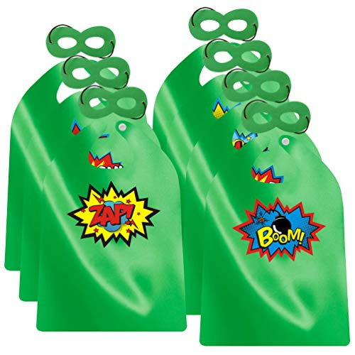 ADJOY Superhero Capes and Masks for Kids Birthday Party - DIY Dress Up Costumes - 6 Sets Pack (Green)