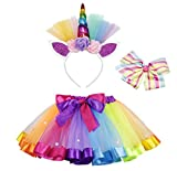 AmzBarley Disfraz de Unicornio para niña Falda de tutú arcoíris con Pinza de Pelo Arcoiris y aro de Pelo Unicornio para espectáculos de Baile de Fiesta (M, Multicolor 2)