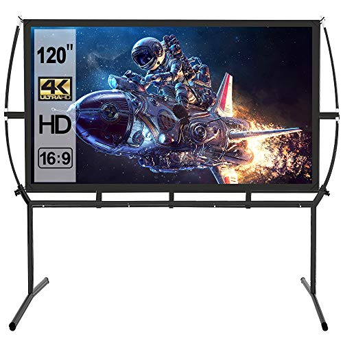 Projector Screen with Stand 120 inch,16:9 Outdoor Indoor Movie Screen, Portable Projector Screen for Home Theater Wrinkle-Free with Carry Bag