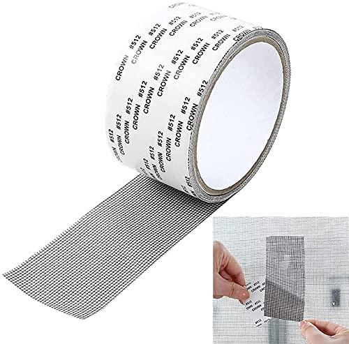 Nastro per Riparare Zanzariere, Nastro Adesivo in Fibra di Vetro per Finestre Insetto, Zanzariera Tessuto Fibra di Vetro Screen Repair Patch, 5cm x 200cm