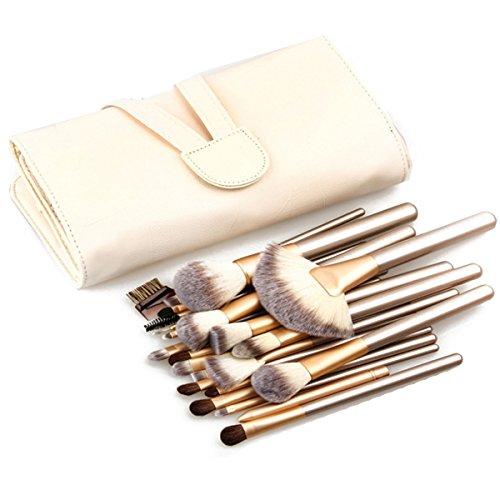 Ashdown synthétique de 12 pcs Lot de brosse de maquillage cosmétique brosses Doré Manche en bois avec une boîte