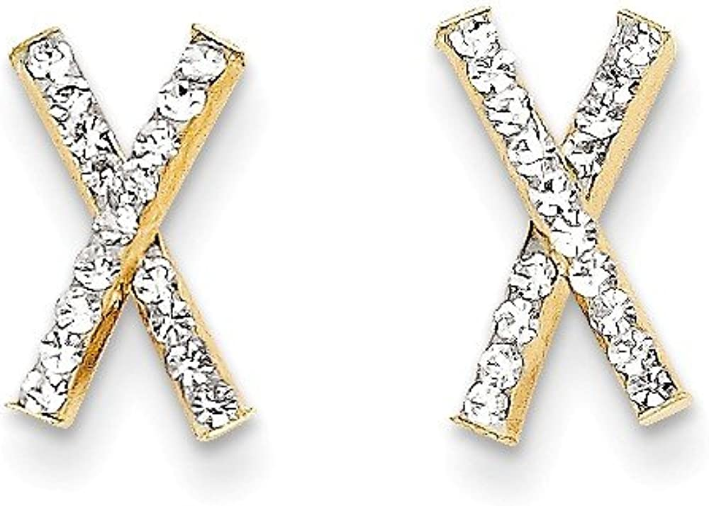 Solid 14k Yellow Gold Crystal X Post Studs Earrings - 12mm x 7mm