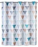 Wenko Anti-Schimmel Duschvorhang Ethno Flex, Textil-Vorhang mit Antischimmel Effekt, große integrierte Ringe zur Befestigung an der Duschstange, waschbar,wasserabweisend, 180 x 200 cm