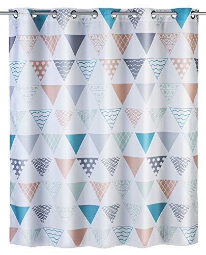 WENKO Anti-Schimmel Duschvorhang Ethno Flex - Anti-Bakteriell, wasserabweisend, Textil, waschbar, schimmelresistent mit integrierter Hängeeinrichtung, Polyester, 180 x 200 cm, Mehrfarbig