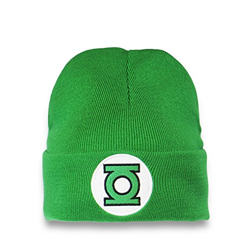 Logoshirt Gorro de Punto Linterna Verde - Logotipo - DC Comics - Beanie Green Lantern - Logo - Bordado - Gorro de Punto Original de la Marca Verde - Diseño Original con Licencia