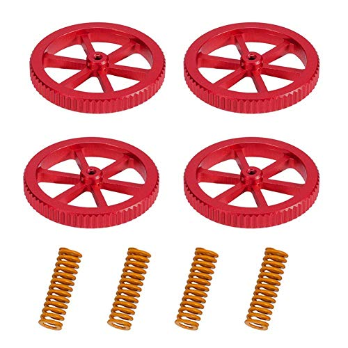 Sovol Creality Upgraded 4PCS Creality Aluminum Hand Twist Leveling Nut with 4PCS Hot Bed Die Springs for Ender 3/3 Pro, Ender 5/5 Plus/Pro, CR-10, CR10S/10S Pro, CR 20 3D Printer