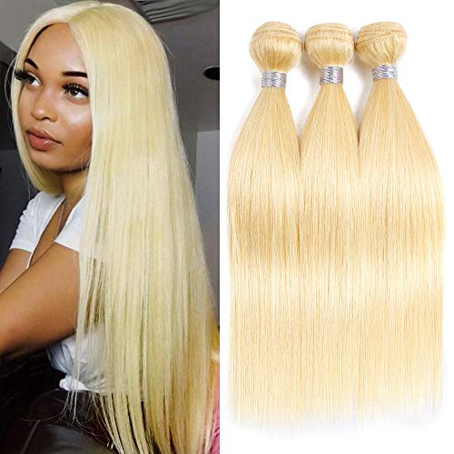 VIOLET HAIR 613 Brazilian Hair 3 Bundles Straight Hair Weft 12 14 16 inch 100% Brazilian Remy Bleached Blonde Human Hair Weave 613 Bundles for Black Women