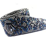 MOCOHANA 19.68inches Rhinestone Beaded Ribbon Trim Wedding Dress Clothing DIY Craft Sewing Decor Accessories (Navy Blue)