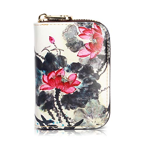 APHISON RFID Credit Card Holder Wallets for Women Leather Zipper Card Case for Ladies Girls/Gift Box 038