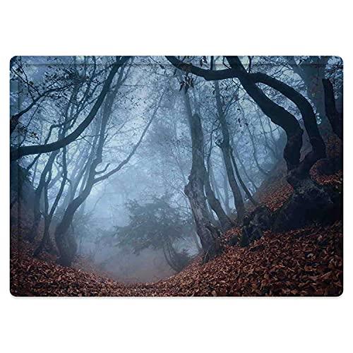 Tapis de Salle de Bain Absorbant antidérapant,Décor de Ferme, Sombre forêt de Crimée Sombre avec des buissons tourbillonnants Myst Spook Tapis de Bain Lavable en Machine 50 * 80cm