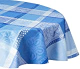 Garnier Thiebaut Coated Tablecloth, Mille Wax Ocean, 69-Inch, Round, 100% two-ply twisted cotton, Coated with three layers of acrylic, Made in France