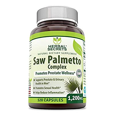 Herbal Secrets Saw Palmetto Complex Dietary Supplement – 1200 milligrams 120 Capsules (Non-GMO)- Contains 10:1 Standardized Extract Along with Saw Palmetto Whole Berry Powder – Prostate Supports*