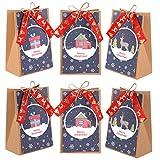 Naler 12 Stück Geschenktüten Weihnachten Papiertüten mit Satinband und Schnur für...