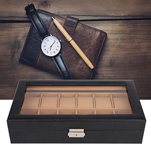 Caja de reloj Caja de reloj de estilo de fibra de carbono de 12 ranuras Caja de almacenamiento de gabinete de exhibición Caja de almacenamiento de almacenamiento de cuero de PU
