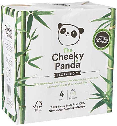 The Cheeky Panda Toilettenpapier, ohne Kunststoff, 4 Stück, 530 g