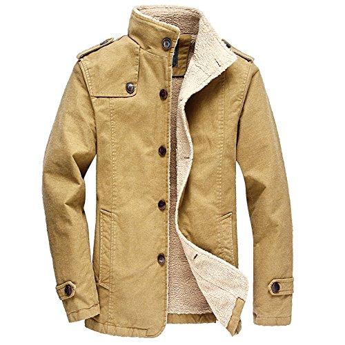 OMUUTR Herren Wollmantel Winterjacke Warme Parka Jacke Winterjacket Casual Trenchcoat Mantel Übergangsjacke Gefütterte Winterparka M-6XL