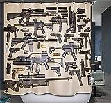 Gun Shower Curtain,Pistol,Rifle,submachinegun,Sniper Gun,Shotgun Waterproof Fabric Shower Curtain 12 Hooks Watercolor Decorative Bath Curtain Modern Bathroom Accessories Shower Custom 72 x 78 inch