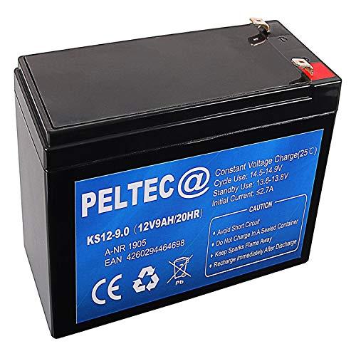 PELTEC@ Premium Blei AGM VLRA Akku Batterie 12V 9Ah - ersetzt auch 7Ah 9,5Ah 9.5AH 10Ah (zyklenfest + wartungsfrei)