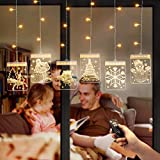 Window Hanging Lights Decor, Dimmable Creative 3D LED Curtain String Lights with Timer/5 Modes/USB Plug,Warm White Remote Control Twinkle Lights for Bedroom/Window/Wall/Fireplace/Patio/RV Camping