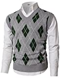 H2H Men's V-Neck Plaid Knitwear Sweater Vest Waistcoat Gray US L/Asia XL (KMOV0169)