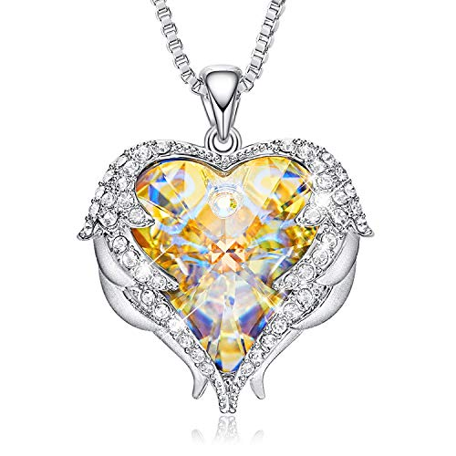 CDE Necklace for Women Girls Angel Wing White Gold Plated Pendant Heart of Ocean Heart-Shape Jewelry Necklaces for Mom Gift for Mothers Day