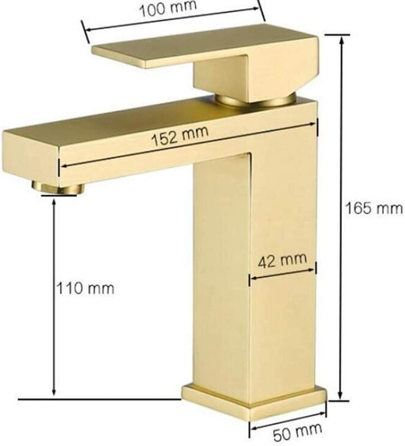 Taps Kitchen Sinkbrushed Square Bathroom Hot and Cold Faucet 100% Soild Brass High Quality Single Hole Basin