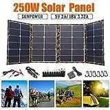 HMLIGHT Panel Solar Plegable 250W Panel Solar 18V para Acampar célula Solar Cargador para el Banco móvil de alimentación para la batería del teléfono DC/Puerto USB