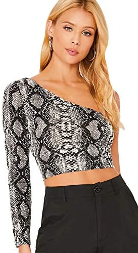 Floerns Women s One Shoulder Long Sleeve Animal Print Casual Crop Tops Grey S product image