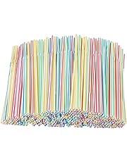 Verdelif 1000 stuks plastic lange rietjes, intrekbare feestrietjes set strip, melk thee rietjes accessoires, volwassen kinderen thuis restaurants, koffie winkels, bars, banket rietjes