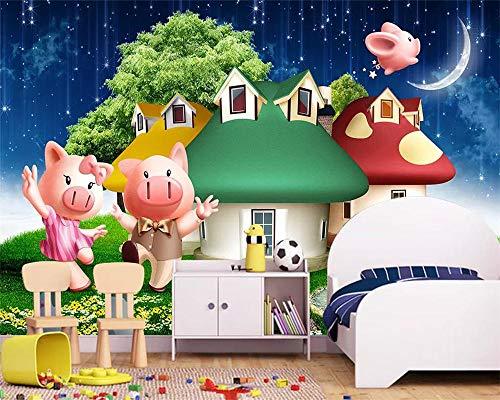 Papel Tapiz 3D Tres Cerditos Dibujos Animados Habitación Infantil Puerta Corredera Mural Decoración De Fondo Papel Tapiz 3D,150Cmx105Cm