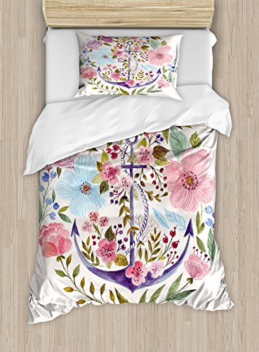 Kitchen Decor Duvet Cover Set by Ambesonne, Nautical and Floral Design Anchor Flowers Watercolor Bouquet Marine Symbol Theme, 2 Piece Bedding Set with Pillow Sham, Twin / Twin XL, White Pink Green