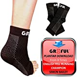 gr8ful Plantar Fasciitis Socks | Sleeves with 24/7 Swelling Reduction Compression & Support for Foot Arch, Heel, Fascia & Achilles Tendonitis (1 pair) Men/Women, Pain Relief Night Splint, L/XL Black