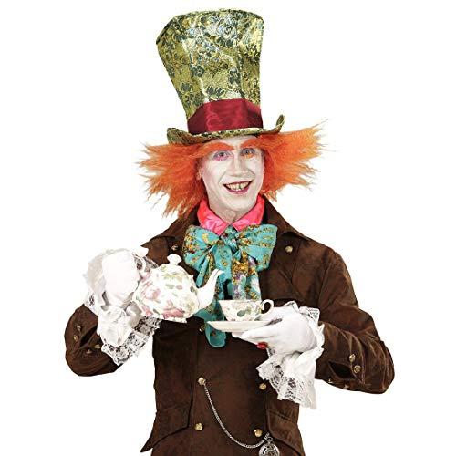 Amakando Sombrero de Copa Sombrerero Loco con Peluca / Verde-Naranja / Fabuloso Accesorio Disfraz Alicia en el país de Las Maravillas Fiestas temáticas y Carnaval