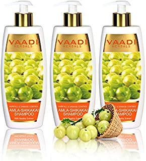 Amla with Shikakai & Reetha Shampoo - Hair Fall and Damage Control Shampoo - ALL Natural Herbal Shampoo - Paraben Free - Sulfate Free - Scalp Therapy - Moisture Therapy - Suitable for All Hair Types - Value Pack of 3 X 11.8 Ounces - Vaadi Herbals