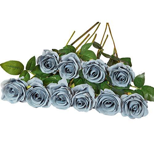 DuHouse 10 Stück Künstliche Rosen Seidenblumen Seidenrosen Fake staubiger Blauer Rosenstrauß für Arrangement Hochzeit Tischdekoration Party Home Küche Dekor (grau blau-Lange Stiele)