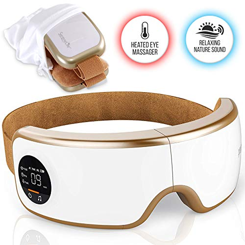 Stress Therapy Electric Eye Massager - Wireless Digital Mask Machine w/ Heat Compress, Built-in Battery & Adjustable Elastic Band - Air Pressure Vibration Massage for Eye Relief - Serenelife SLEYMSG40,White/Gold