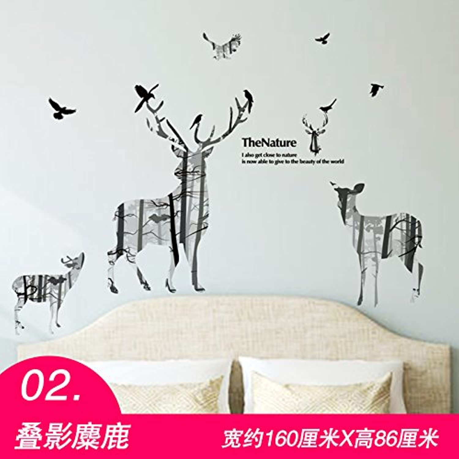 Znzbzt 3D Posters Wall Sticker Creative Poster Room Decor Personalized self Adhesive Wallpaper, Elk