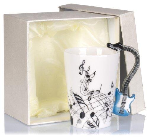 Grinscard Keramiktasse mit Motiv Henkel - Weiß Bedruckt E-Gitarre Design ca. 0,2l - Tee & Kaffee Tasse zum Verschenken