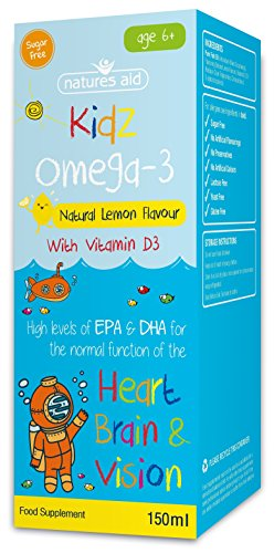Natures Aid Kids Omega-3 Fish Oil for Children (150 ml, Natural Lemon Flavour, High in EPA and DHA, Sugar Free, Sustainably Sourced, Made in the UK) 6 Years Plus
