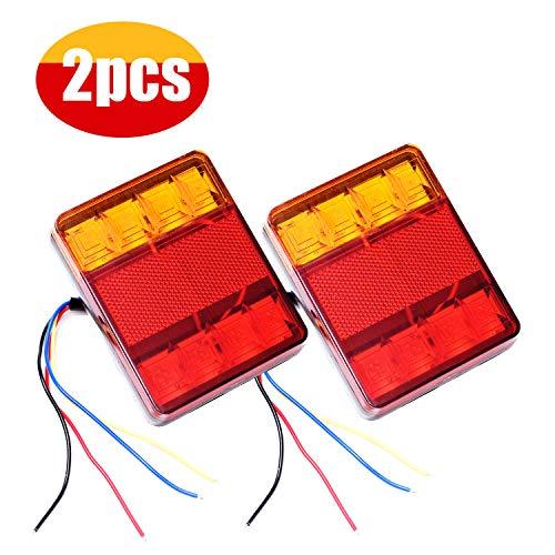 GLCS GLAUCUS 2PCS 8LED Luces Traseras Piloto Remolque Freno de Señal Impermeable Rojo Ambar Lámpara de Matrícula Placa 12V Indicador Luces de Cola para Caravana Coche Camión Barco Tractor