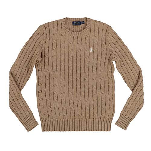 Polo Ralph Lauren Suéter de punto para mujer con cuello redondo (XL, marrón)